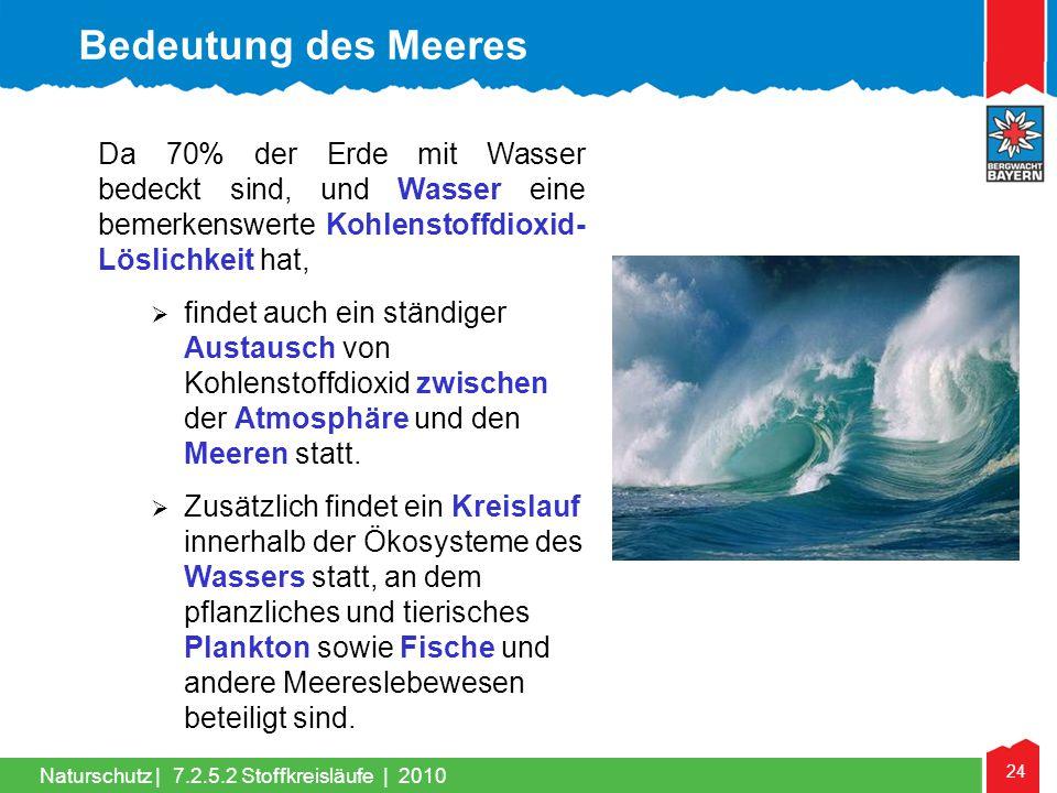 24 Naturschutz | Da 70% der Erde mit Wasser bedeckt sind, und Wasser eine bemerkenswerte Kohlenstoffdioxid- Löslichkeit hat,  findet auch ein ständig