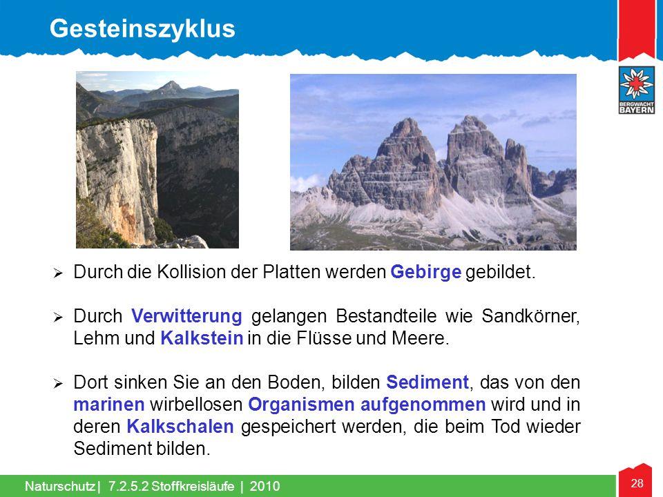 28 Naturschutz |  Durch die Kollision der Platten werden Gebirge gebildet.  Durch Verwitterung gelangen Bestandteile wie Sandkörner, Lehm und Kalkst