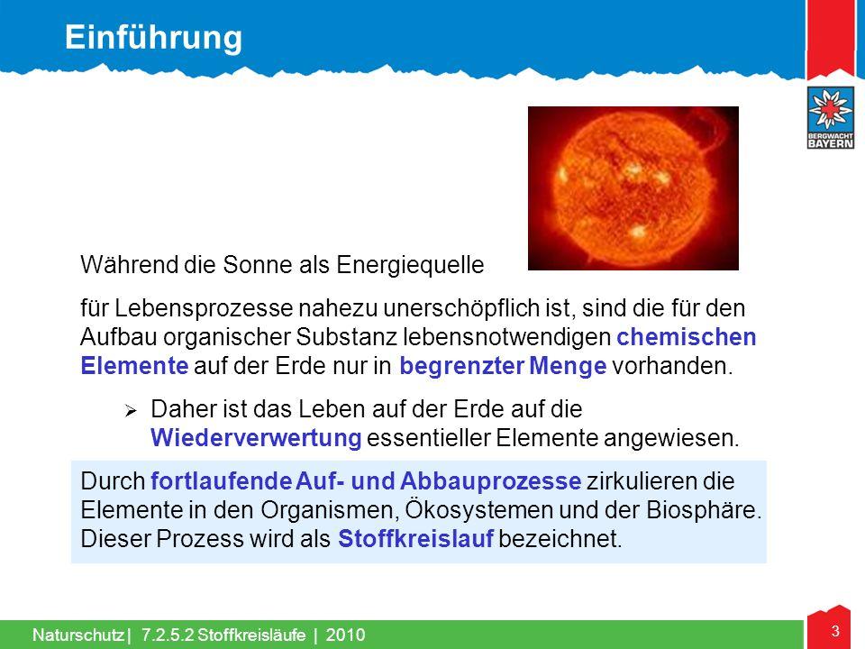 3 Naturschutz | Während die Sonne als Energiequelle für Lebensprozesse nahezu unerschöpflich ist, sind die für den Aufbau organischer Substanz lebensn