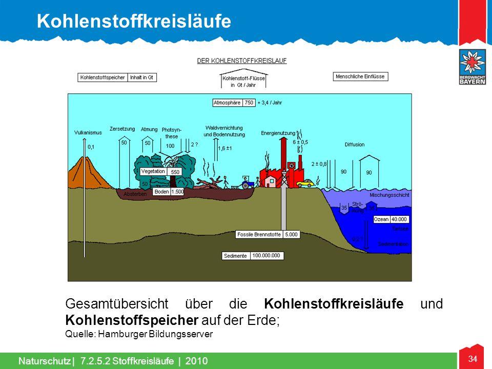 34 Naturschutz | Gesamtübersicht über die Kohlenstoffkreisläufe und Kohlenstoffspeicher auf der Erde; Quelle: Hamburger Bildungsserver Kohlenstoffkrei