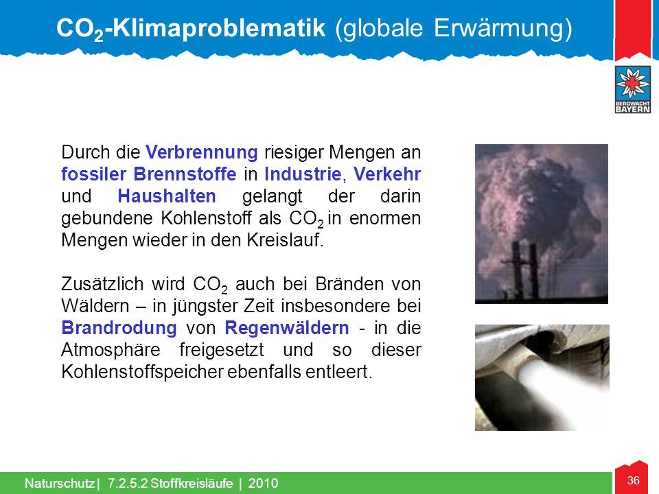 36 Naturschutz | Durch die Verbrennung riesiger Mengen an fossiler Brennstoffe in Industrie, Verkehr und Haushalten gelangt der darin gebundene Kohlen
