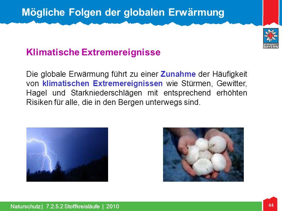 44 Naturschutz | Klimatische Extremereignisse Die globale Erwärmung führt zu einer Zunahme der Häufigkeit von klimatischen Extremereignissen wie Stürm