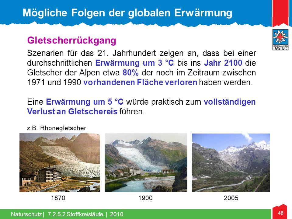 48 Naturschutz | Gletscherrückgang Szenarien für das 21. Jahrhundert zeigen an, dass bei einer durchschnittlichen Erwärmung um 3 °C bis ins Jahr 2100