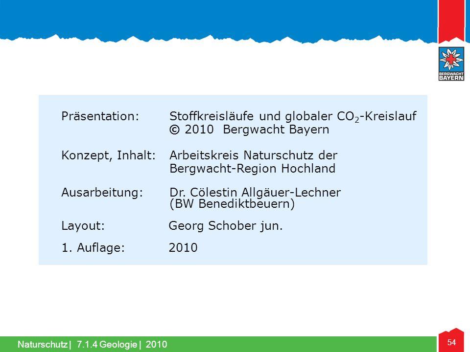 54 Naturschutz |7.1.4 Geologie | 2010 Präsentation: Stoffkreisläufe und globaler CO 2 -Kreislauf © 2010 Bergwacht Bayern Konzept, Inhalt: Arbeitskreis