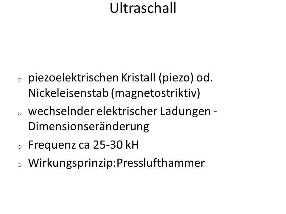 Ultraschall o piezoelektrischen Kristall (piezo) od. Nickeleisenstab (magnetostriktiv) o wechselnder elektrischer Ladungen - Dimensionseränderung o Fr