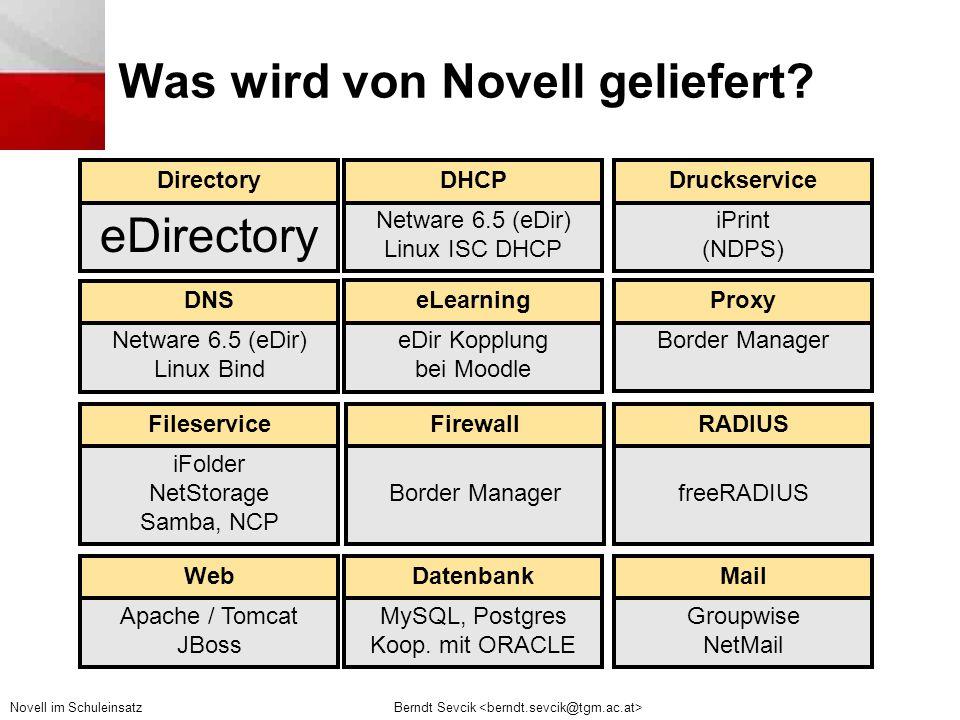 Berndt Sevcik Novell im Schuleinsatz Was wird von Novell geliefert.