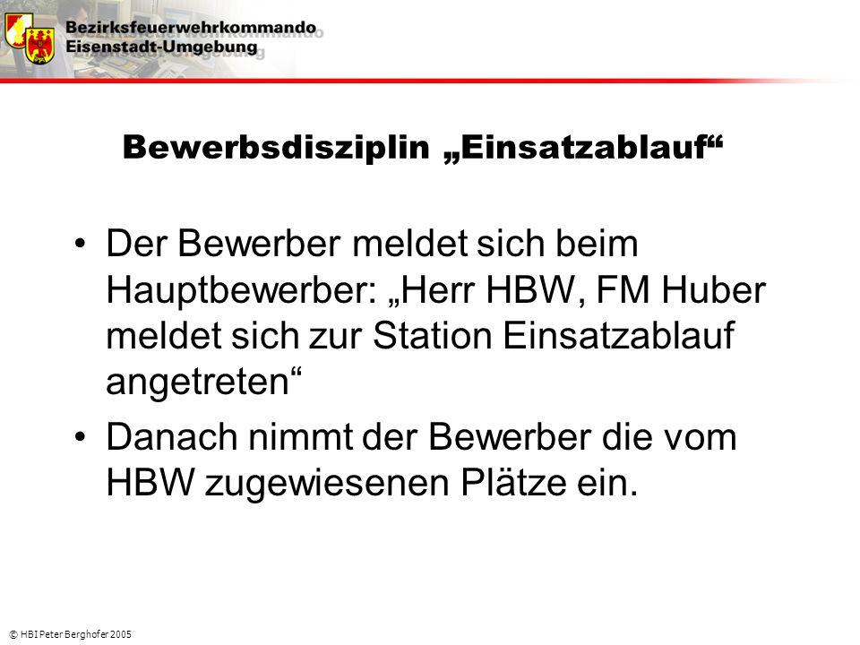 """© HBI Peter Berghofer 2005 Bewerbsdisziplin """"Einsatzablauf"""" •Der Bewerber meldet sich beim Hauptbewerber: """"Herr HBW, FM Huber meldet sich zur Station"""