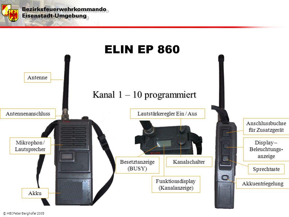 © HBI Peter Berghofer 2005 ELIN EP 860 Mikrophon / Lautsprecher Antennenanschluss Antenne Lautstärkeregler Ein / Aus Anschlussbuchse für Zusatzgerät K