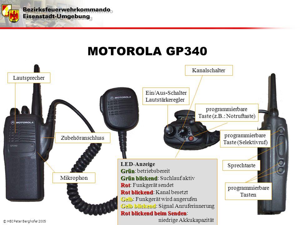 © HBI Peter Berghofer 2005 MOTOROLA GP340 Kanalschalter Ein/Aus-SchalterLautstärkeregler Grün: Grün blickend: Rot: Rot blickend: Gelb: Gelb blickend: