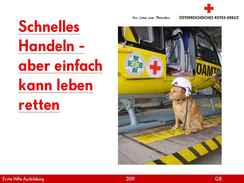 www.roteskreuz.at Version April | 2011 5 Schnelles Handeln - aber einfach kann leben retten Erste Hilfe Ausbildung 2011 G.R.
