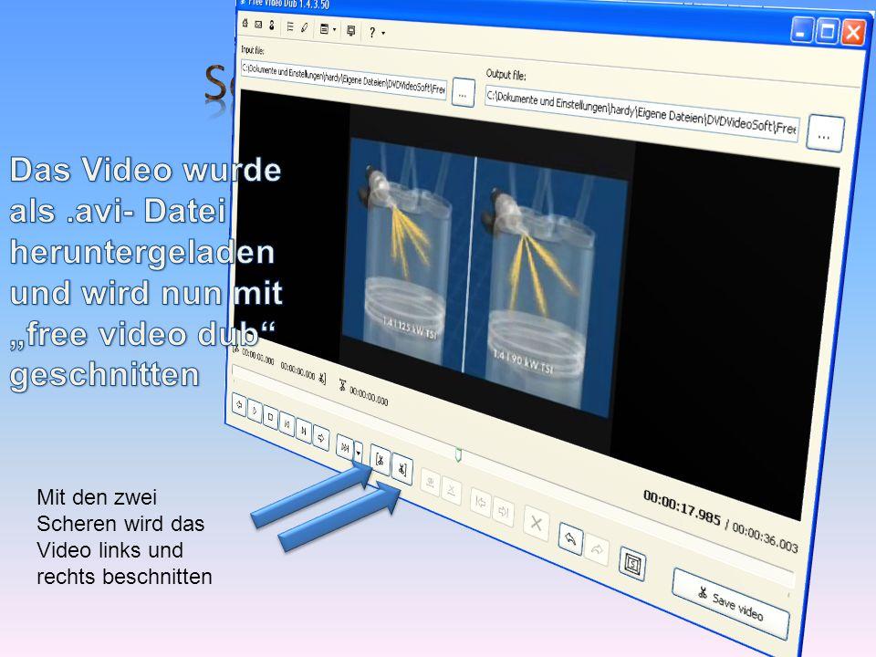 Mit den zwei Scheren wird das Video links und rechts beschnitten