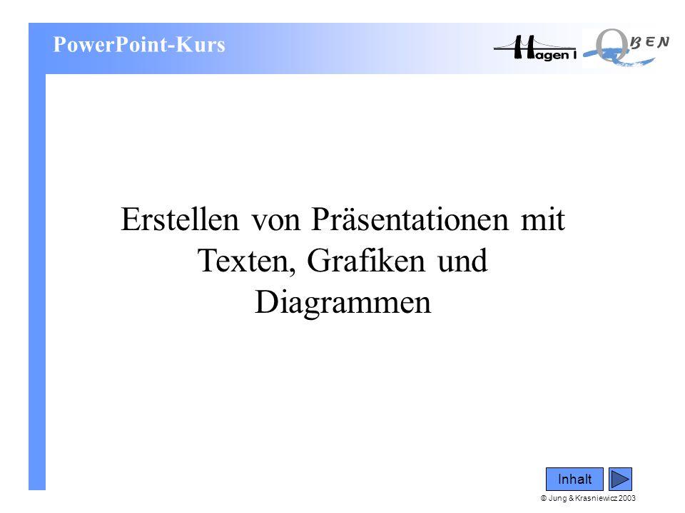 © Jung & Krasniewicz 2003 Inhalt PowerPoint-Kurs Erstellen von Präsentationen mit Texten, Grafiken und Diagrammen