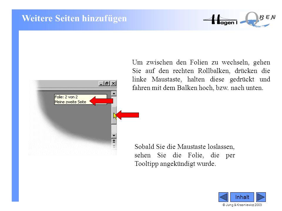 © Jung & Krasniewicz 2003 Inhalt Um zwischen den Folien zu wechseln, gehen Sie auf den rechten Rollbalken, drücken die linke Maustaste, halten diese g
