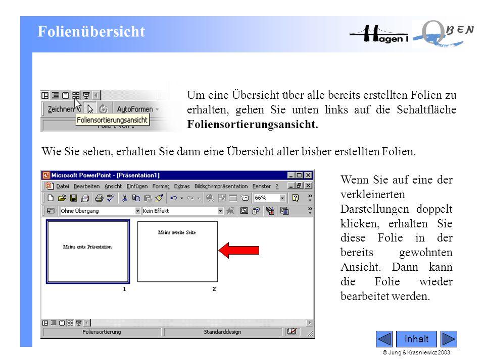 © Jung & Krasniewicz 2003 Inhalt Folienübersicht Um eine Übersicht über alle bereits erstellten Folien zu erhalten, gehen Sie unten links auf die Scha