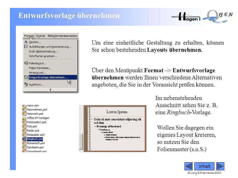 © Jung & Krasniewicz 2003 Inhalt Entwurfsvorlage übernehmen Um eine einheitliche Gestaltung zu erhalten, können Sie schon bestehenden Layouts übernehm