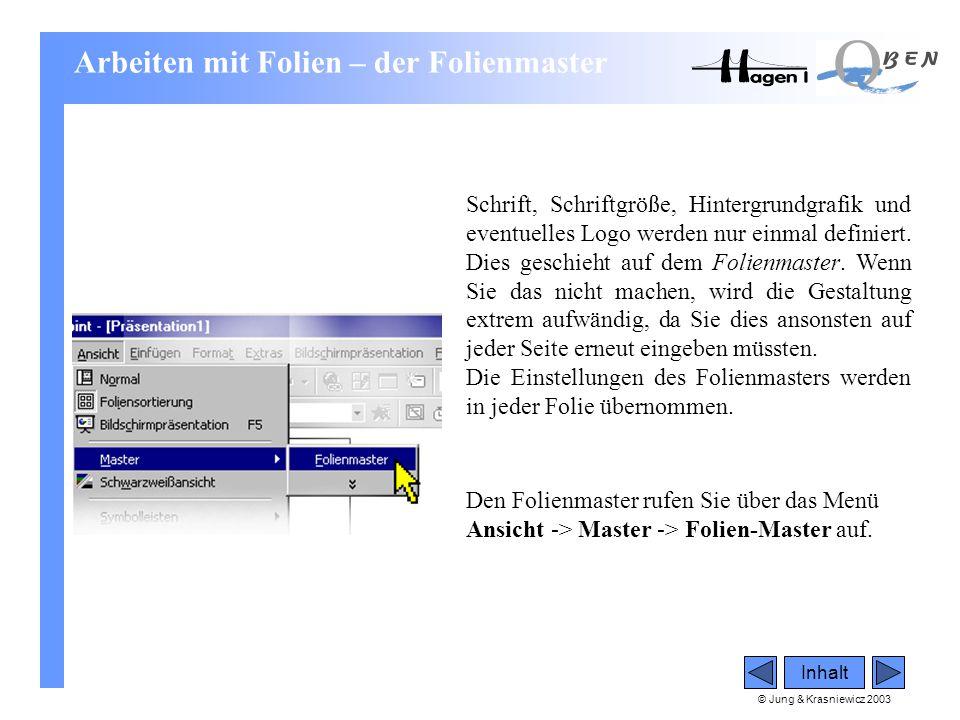 © Jung & Krasniewicz 2003 Inhalt Arbeiten mit Folien – der Folienmaster Schrift, Schriftgröße, Hintergrundgrafik und eventuelles Logo werden nur einma
