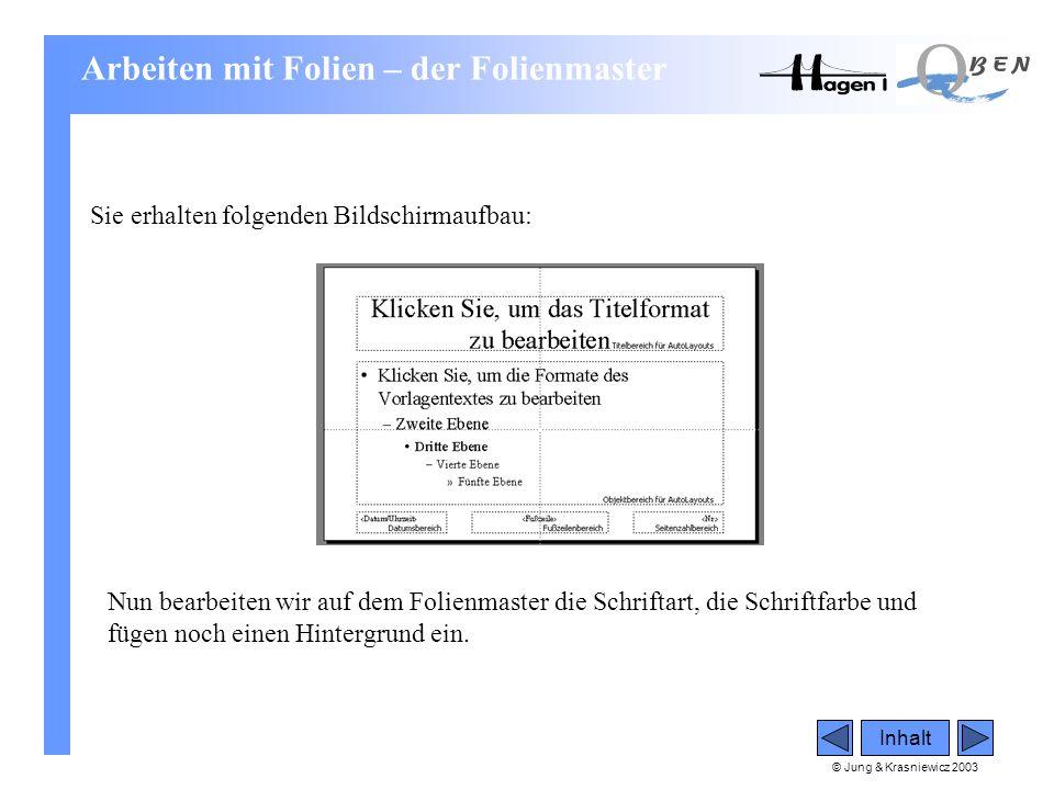 © Jung & Krasniewicz 2003 Inhalt Sie erhalten folgenden Bildschirmaufbau: Nun bearbeiten wir auf dem Folienmaster die Schriftart, die Schriftfarbe und