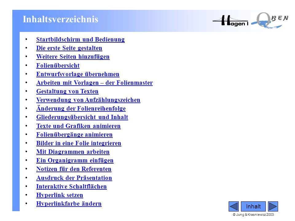 © Jung & Krasniewicz 2003 Inhalt Inhaltsverzeichnis •Startbildschirm und BedienungStartbildschirm und Bedienung •Die erste Seite gestaltenDie erste Se