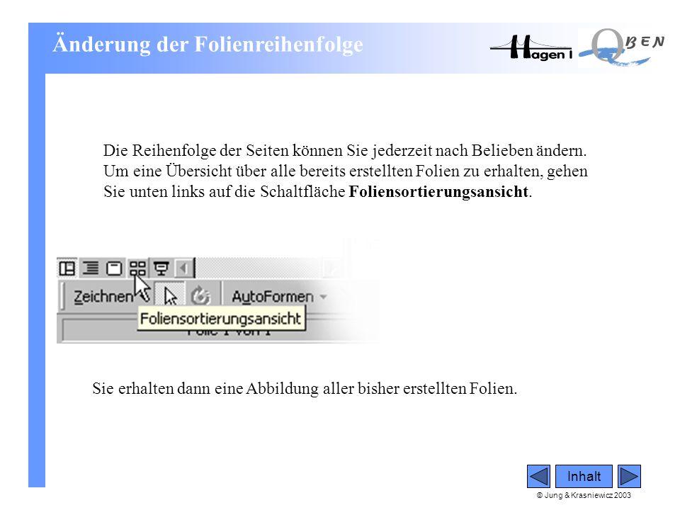 © Jung & Krasniewicz 2003 Inhalt Änderung der Folienreihenfolge Die Reihenfolge der Seiten können Sie jederzeit nach Belieben ändern. Um eine Übersich