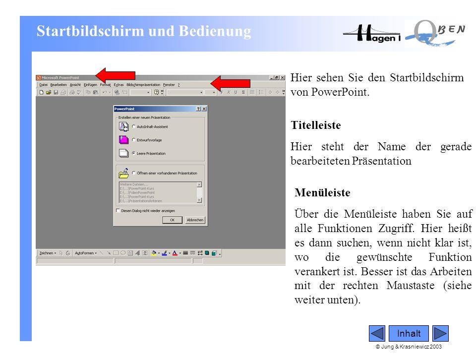 © Jung & Krasniewicz 2003 Inhalt Startbildschirm und Bedienung Hier sehen Sie den Startbildschirm von PowerPoint. Titelleiste Hier steht der Name der