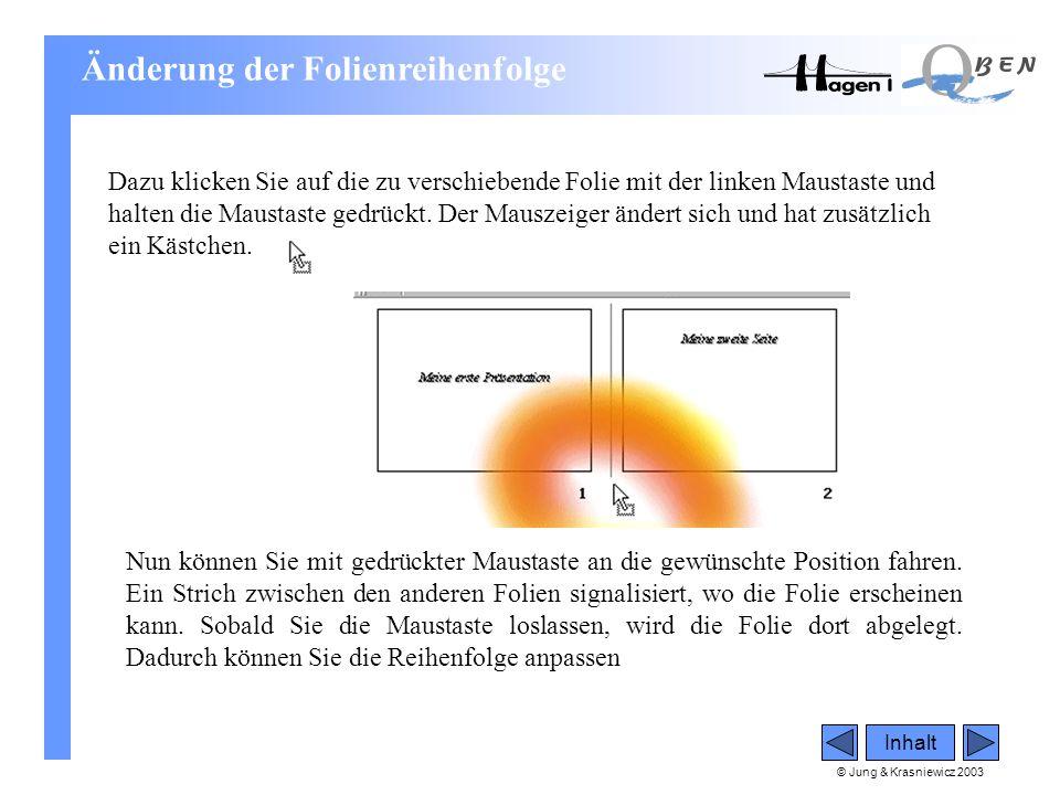 © Jung & Krasniewicz 2003 Inhalt Dazu klicken Sie auf die zu verschiebende Folie mit der linken Maustaste und halten die Maustaste gedrückt. Der Mausz