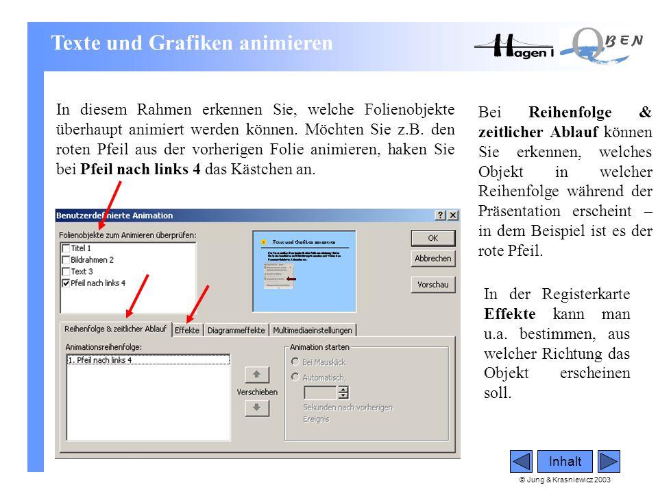 © Jung & Krasniewicz 2003 Inhalt In diesem Rahmen erkennen Sie, welche Folienobjekte überhaupt animiert werden können. Möchten Sie z.B. den roten Pfei
