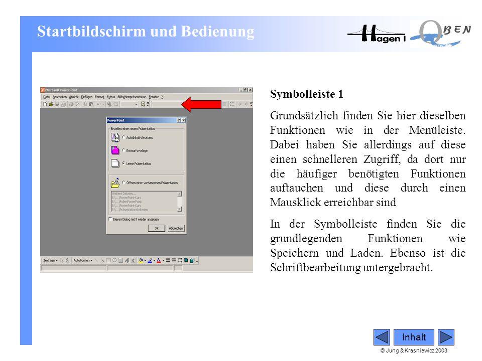 © Jung & Krasniewicz 2003 Symbolleiste 1 Grundsätzlich finden Sie hier dieselben Funktionen wie in der Menüleiste. Dabei haben Sie allerdings auf dies