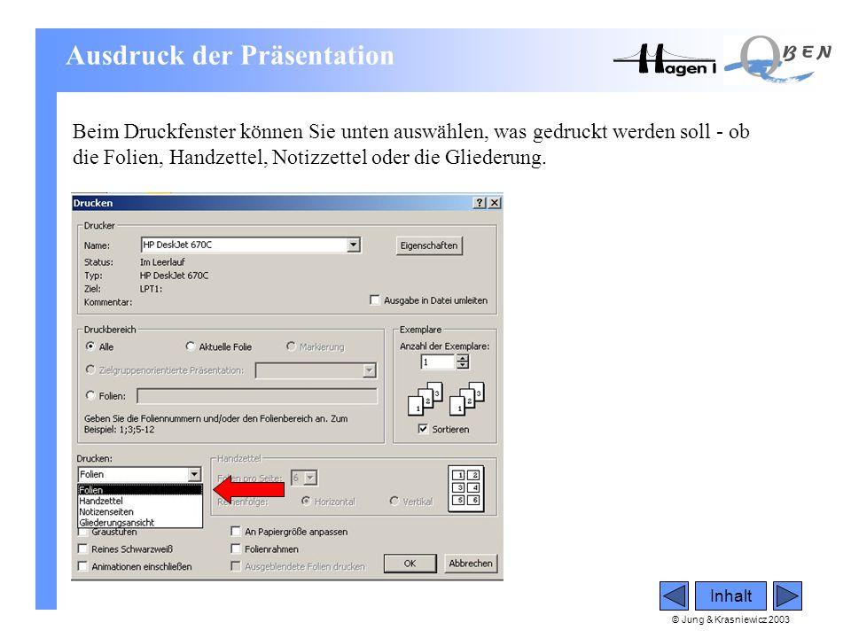 © Jung & Krasniewicz 2003 Inhalt Beim Druckfenster können Sie unten auswählen, was gedruckt werden soll - ob die Folien, Handzettel, Notizzettel oder