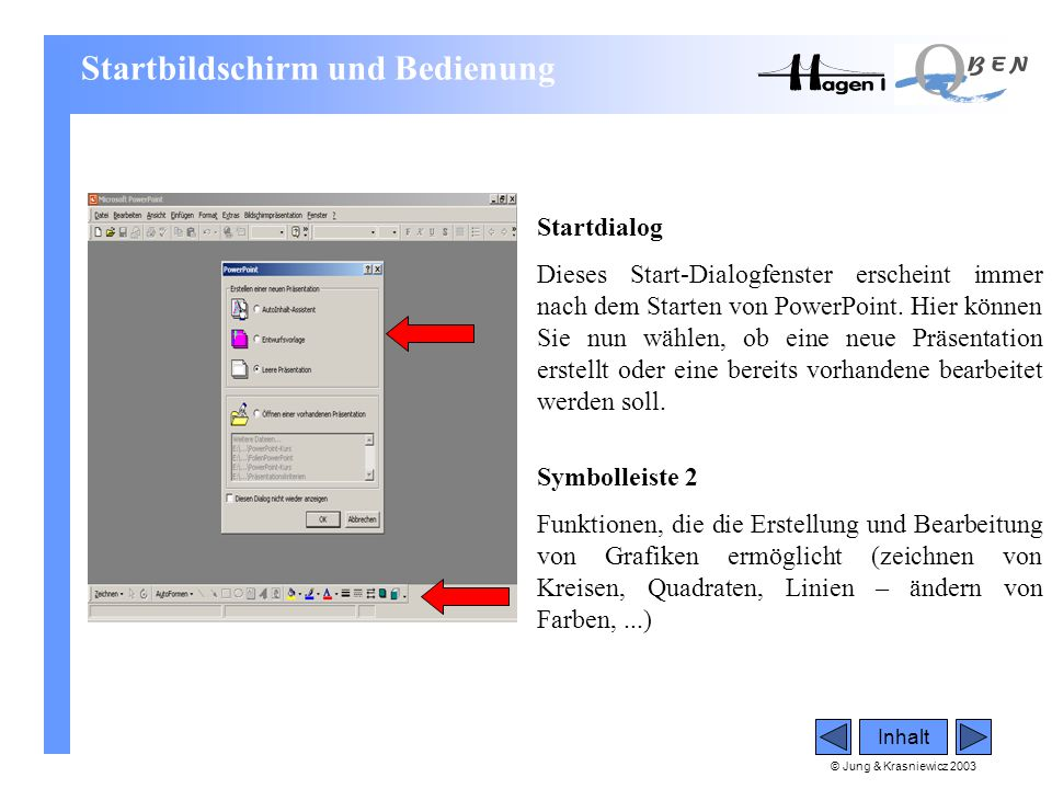 © Jung & Krasniewicz 2003 Symbolleiste 2 Funktionen, die die Erstellung und Bearbeitung von Grafiken ermöglicht (zeichnen von Kreisen, Quadraten, Lini