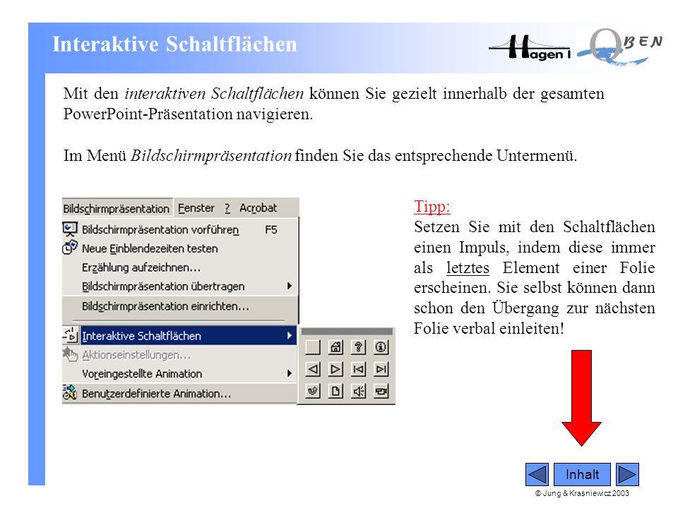 © Jung & Krasniewicz 2003 Inhalt Interaktive Schaltflächen Mit den interaktiven Schaltflächen können Sie gezielt innerhalb der gesamten PowerPoint-Prä