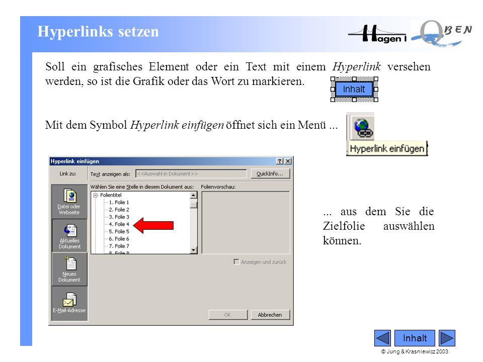 © Jung & Krasniewicz 2003 Inhalt Hyperlinks setzen Soll ein grafisches Element oder ein Text mit einem Hyperlink versehen werden, so ist die Grafik od