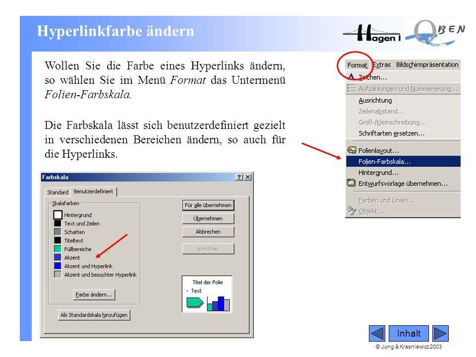 © Jung & Krasniewicz 2003 Inhalt Hyperlinkfarbe ändern Wollen Sie die Farbe eines Hyperlinks ändern, so wählen Sie im Menü Format das Untermenü Folien