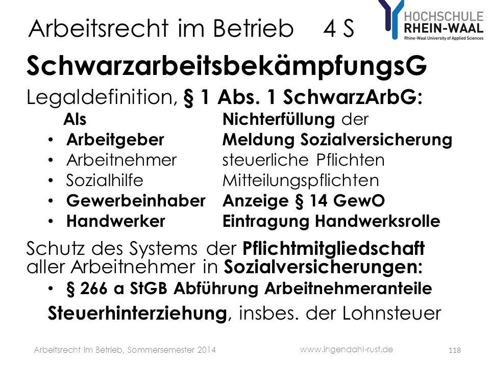 Arbeitsrecht im Betrieb 4 S SchwarzarbeitsbekämpfungsG Legaldefinition, § 1 Abs. 1 SchwarzArbG: AlsNichterfüllung der • ArbeitgeberMeldung Sozialversi