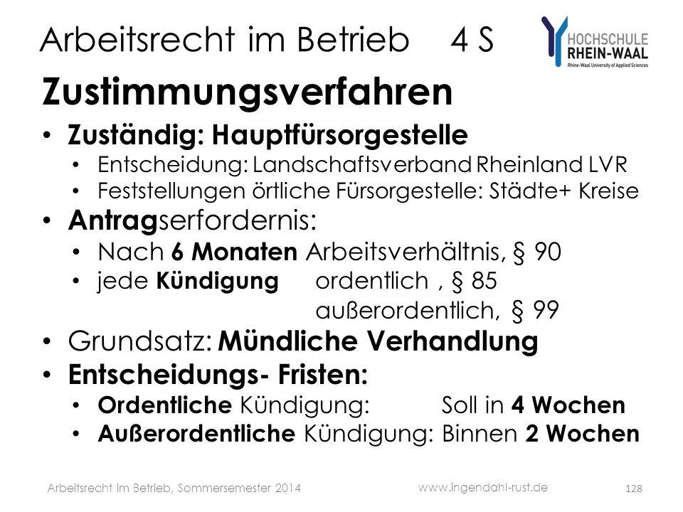 Arbeitsrecht im Betrieb 4 S Zustimmungsverfahren • Zuständig: Hauptfürsorgestelle • Entscheidung: Landschaftsverband Rheinland LVR • Feststellungen ör