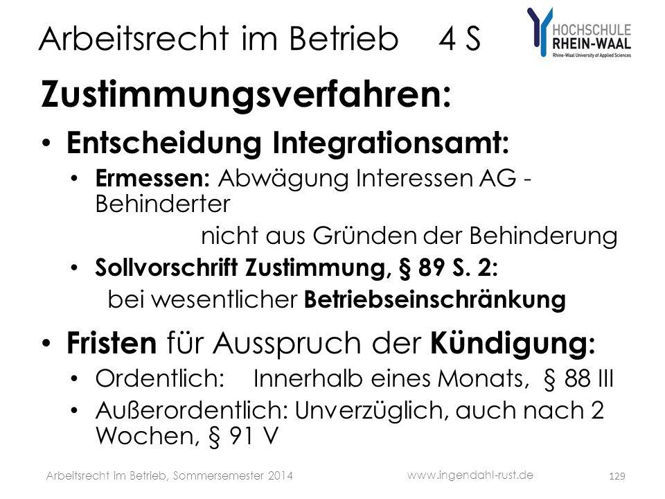 Arbeitsrecht im Betrieb 4 S Zustimmungsverfahren: • Entscheidung Integrationsamt: • Ermessen: Abwägung Interessen AG - Behinderter nicht aus Gründen d