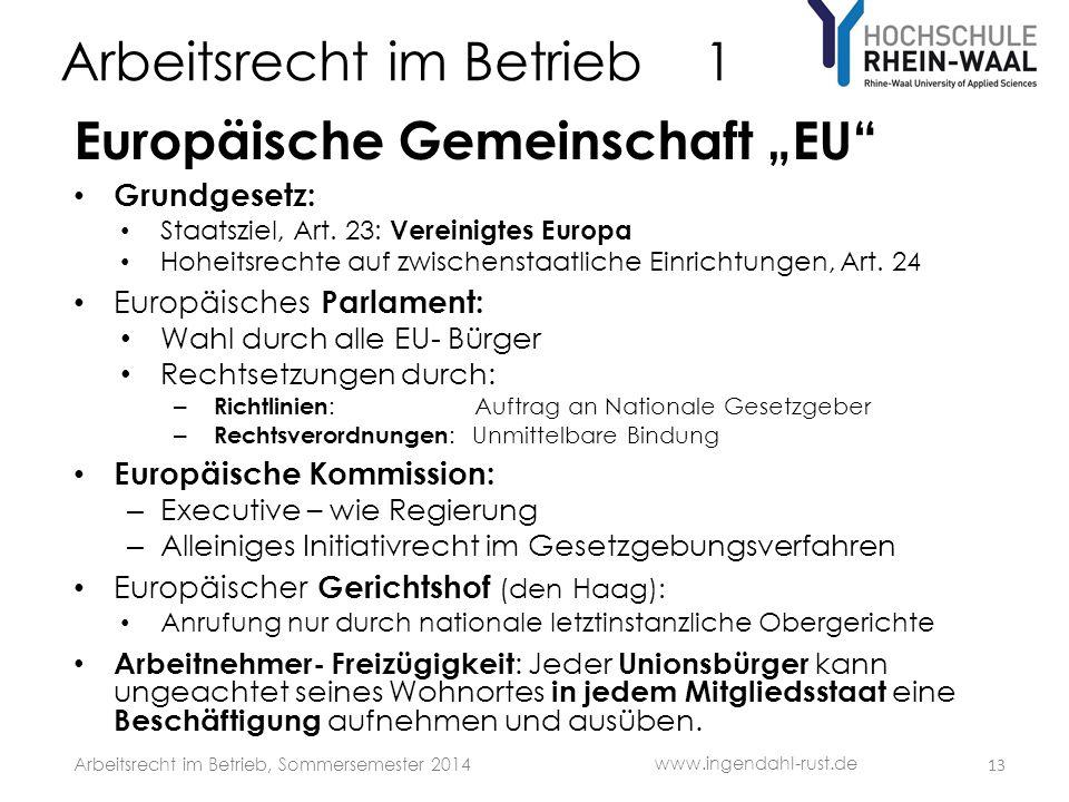 """Arbeitsrecht im Betrieb 1 Europäische Gemeinschaft """"EU"""" • Grundgesetz: • Staatsziel, Art. 23: Vereinigtes Europa • Hoheitsrechte auf zwischenstaatlich"""