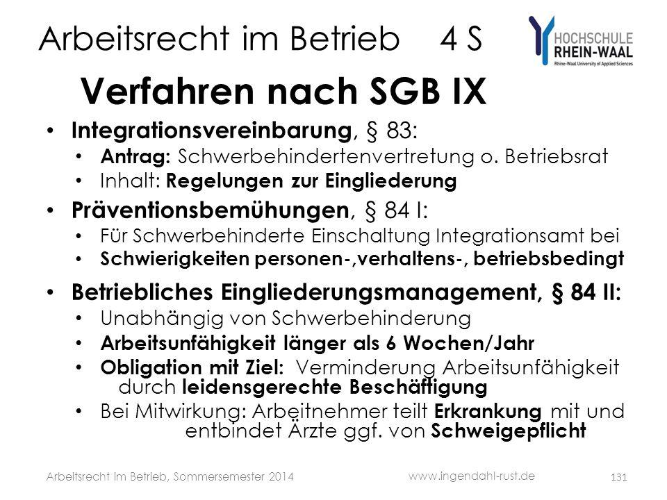Arbeitsrecht im Betrieb 4 S Verfahren nach SGB IX • Integrationsvereinbarung, § 83: • Antrag: Schwerbehindertenvertretung o. Betriebsrat • Inhalt: Reg