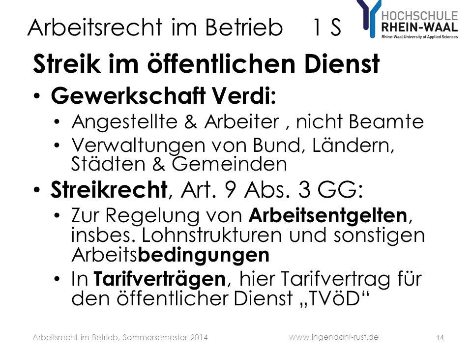 Arbeitsrecht im Betrieb 1 S Streik im öffentlichen Dienst • Gewerkschaft Verdi: • Angestellte & Arbeiter, nicht Beamte • Verwaltungen von Bund, Länder