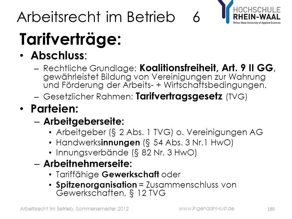 Arbeitsrecht im Betrieb 6 Tarifverträge: • Abschluss : – Rechtliche Grundlage: Koalitionsfreiheit, Art. 9 II GG, gewährleistet Bildung von Vereinigung