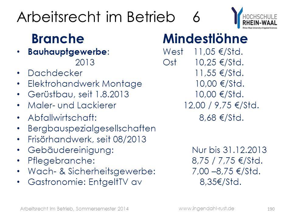 Arbeitsrecht im Betrieb 6 Branche Mindestlöhne • Bauhauptgewerbe :West 11,05 €/Std. 2013Ost 10,25 €/Std. • Dachdecker 11,55 €/Std. • Elektrohandwerk M