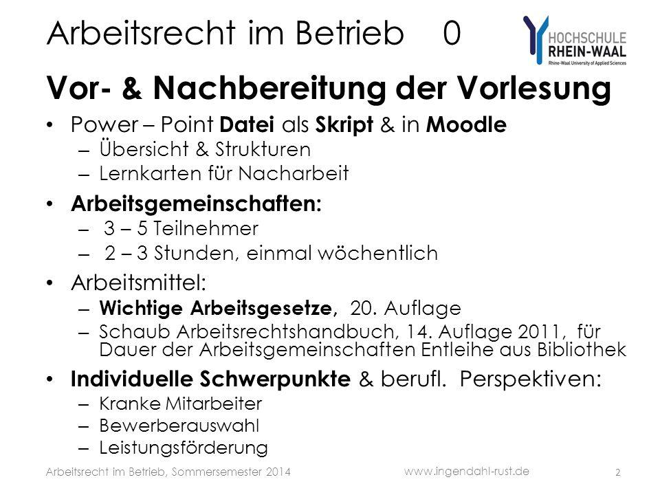 Arbeitsrecht im Betrieb 7 Betriebs- verfassungsrecht 213 www.ingendahl-rust.de Arbeitsrecht im Betrieb, Sommersemester 2014