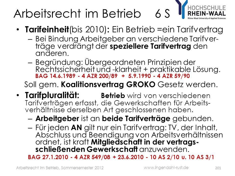 Arbeitsrecht im Betrieb 6 S • Tarifeinheit (bis 2010) : Ein Betrieb =ein Tarifvertrag – Bei Bindung Arbeitgeber an verschiedene Tarifver- träge verdrä