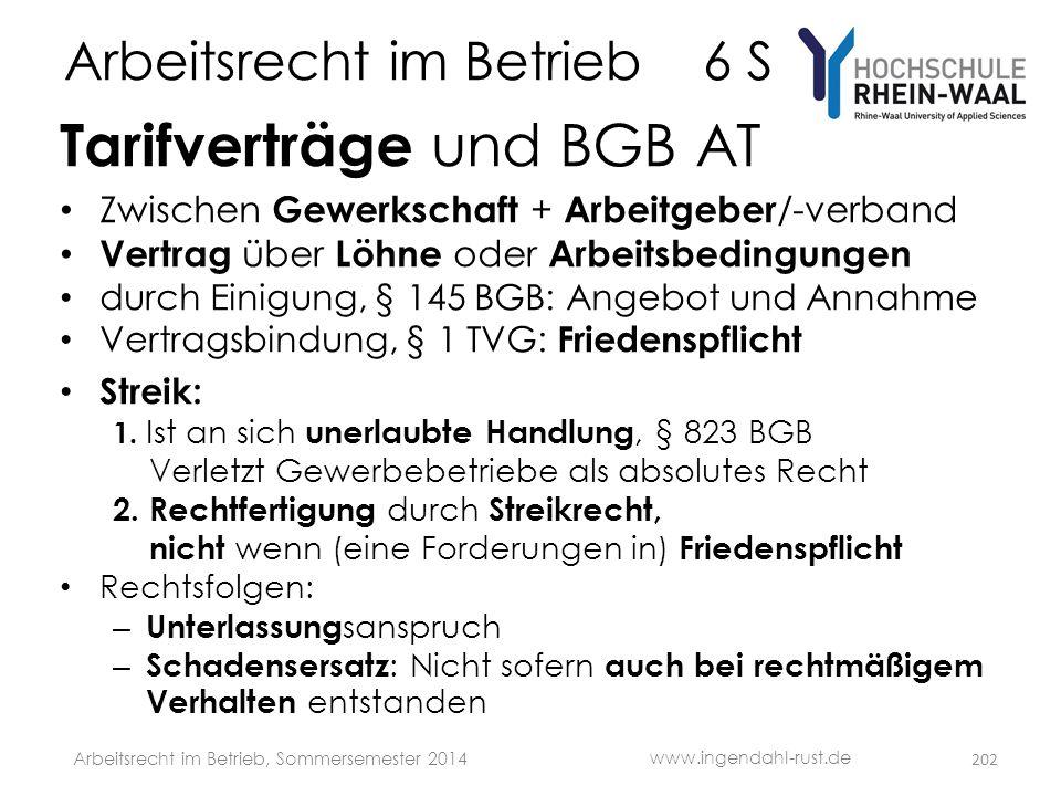Arbeitsrecht im Betrieb 6 S Tarifverträge und BGB AT • Zwischen Gewerkschaft + Arbeitgeber /-verband • Vertrag über Löhne oder Arbeitsbedingungen • du