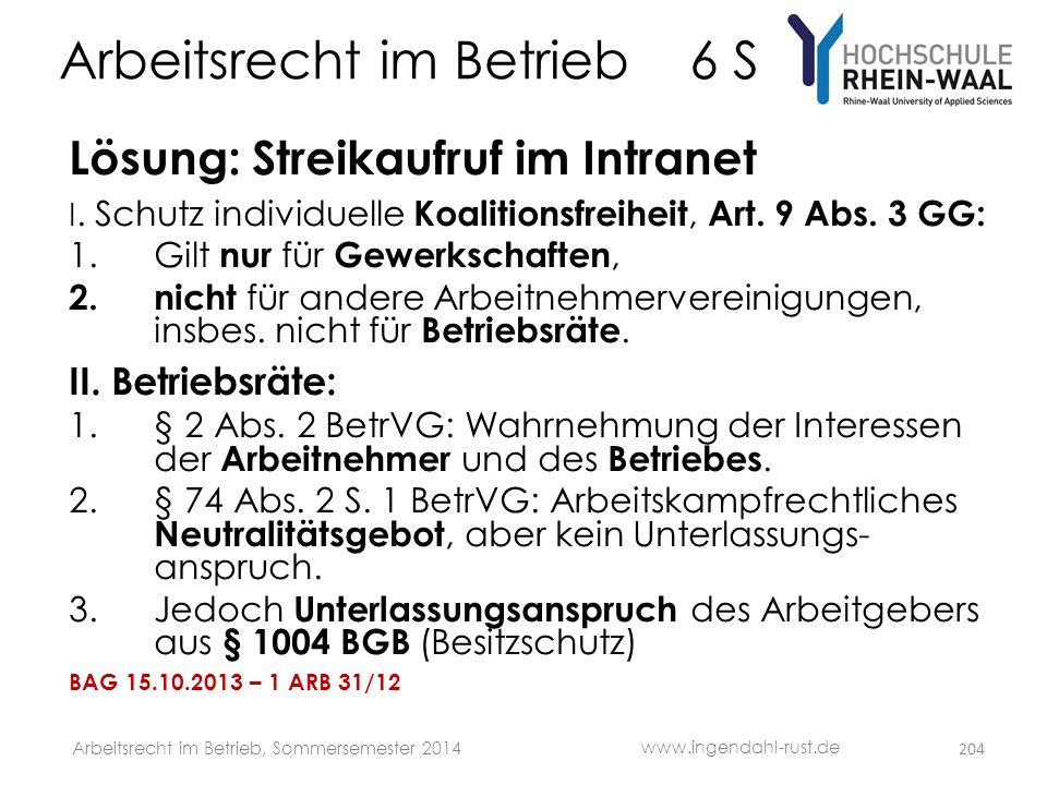 Arbeitsrecht im Betrieb 6 S Lösung: Streikaufruf im Intranet I. Schutz individuelle Koalitionsfreiheit, Art. 9 Abs. 3 GG: 1.Gilt nur für Gewerkschafte