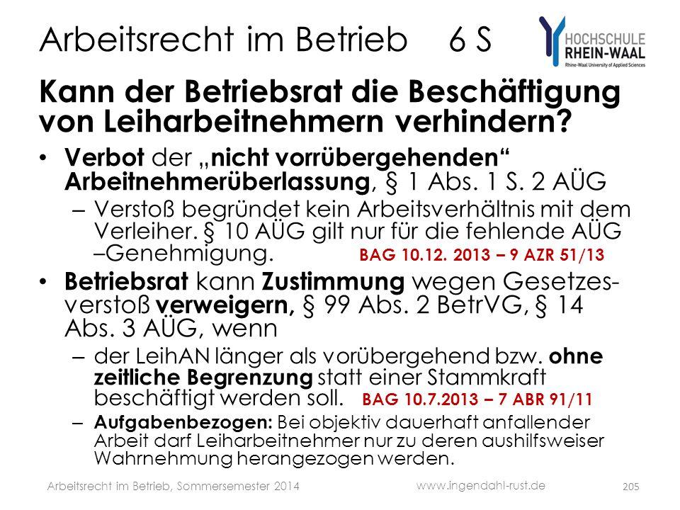 """Arbeitsrecht im Betrieb 6 S Kann der Betriebsrat die Beschäftigung von Leiharbeitnehmern verhindern? • Verbot der """" nicht vorrübergehenden"""" Arbeitnehm"""