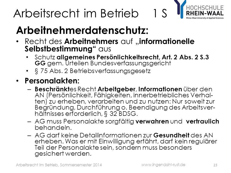 """Arbeitsrecht im Betrieb 1 S Arbeitnehmerdatenschutz: • Recht des Arbeitnehmers auf """" informationelle Selbstbestimmung"""" aus • Schutz allgemeines Persön"""