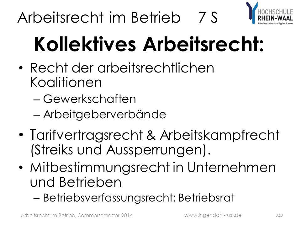 Arbeitsrecht im Betrieb 7 S Kollektives Arbeitsrecht: • Recht der arbeitsrechtlichen Koalitionen – Gewerkschaften – Arbeitgeberverbände • T arifvertra