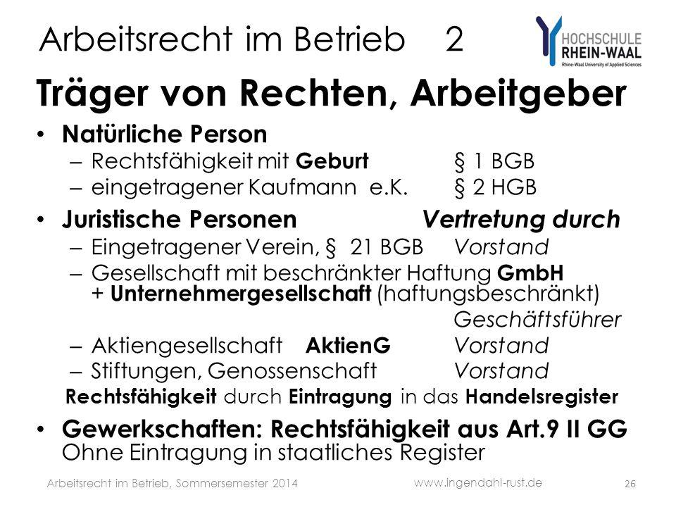 Arbeitsrecht im Betrieb 2 Träger von Rechten, Arbeitgeber • Natürliche Person – Rechtsfähigkeit mit Geburt § 1 BGB – eingetragener Kaufmann e.K. § 2 H