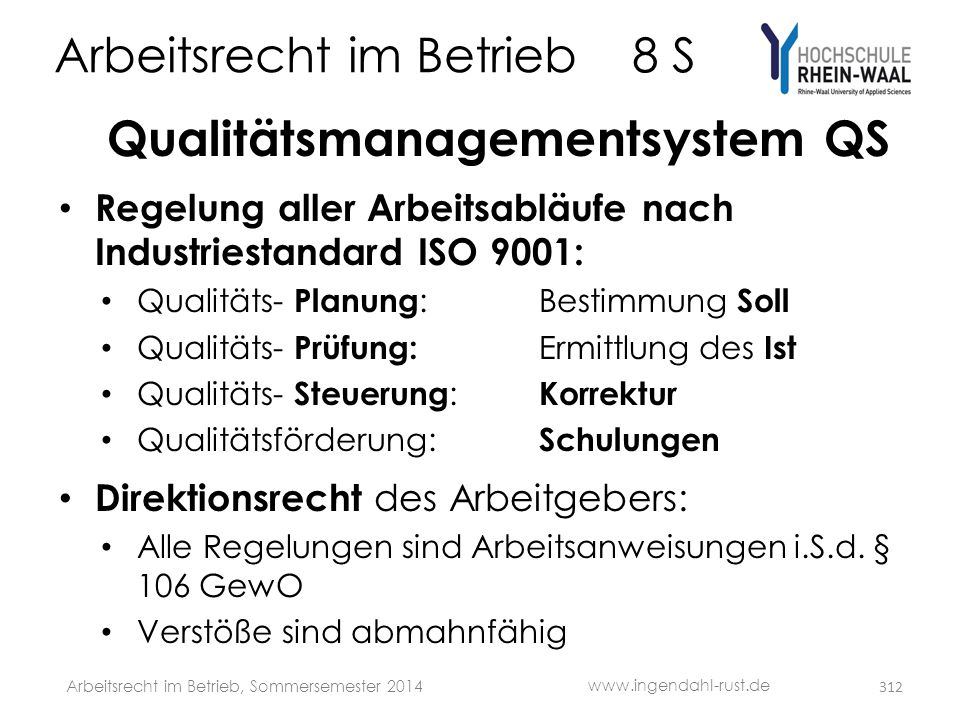 Arbeitsrecht im Betrieb 8 S Qualitätsmanagementsystem QS • Regelung aller Arbeitsabläufe nach Industriestandard ISO 9001: • Qualitäts- Planung :Bestim