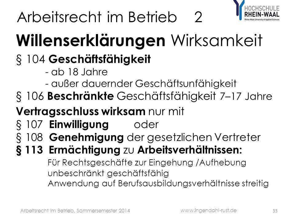 Arbeitsrecht im Betrieb 2 Willenserklärungen Wirksamkeit § 104 Geschäftsfähigkeit - ab 18 Jahre - außer dauernder Geschäftsunfähigkeit § 106 Beschränk